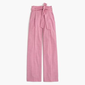 Tie-waist pant in wool flannel