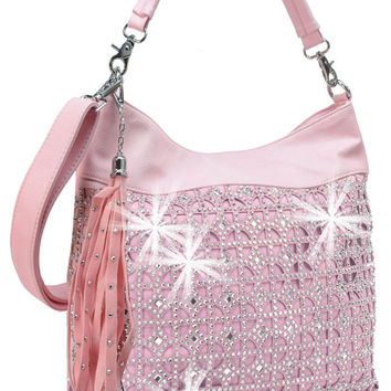 * Rhinestone Circle Grid Pattern Fashion Handbag In Pink