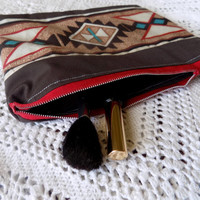 Brown, Red and Blue Aztec Makeup Bag/ Pencil Pouch- Free Shipping to Continental US
