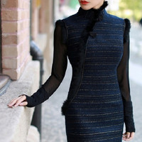 Retro Qipao Half-Long Sleeve Woolen Chinese Cheongsam Dress Blue