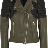 Faith Connexion | Two-tone textured-leather biker jacket | NET-A-PORTER.COM