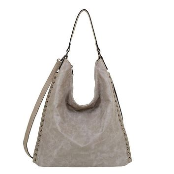 Gray Marion Studded Hobo Bag