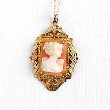 Vintage Cameo Necklace - Rosy Yellow Gold Filled Art Deco Genuine Carved Shell Filigree Pendant - 30s Floral Green Rose Gold Flower Jewelry