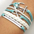 "Infinity Anchor ""where there's a will there's way"" Bracelet Antique Silver Mint White Leather Bracelet Cute Bracelet Gift Bracelet"