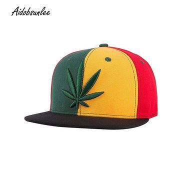 Trendy Winter Jacket 2017 New Casual Baseball Caps Hat Cap Snapback Hip Hop Fashion Embroidered Green Hemp Leaf Flower Printed Hats Men Women Caps AT_92_12