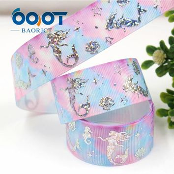 431, 1'' 25mm Mermaid girl Silver foil printed ribbon,10yrds DIY Hair Bow Wedding Festival Home Party Birthday Decorations Gift