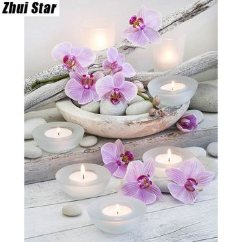"5d Diamond Painting Mosaic diy ""Flower & Candle Stones"""