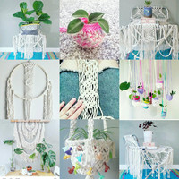 Shabby Chic Hanging Planter- Wall Accent- Bohemian Decor- Dorm Decor~ Planter- White Wall Accent- Boho Home Decor-  BohoChic- Gypsy Home