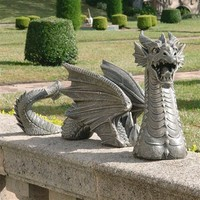 SheilaShrubs.com: The Dragon of Falkenberg Castle Moat Lawn Statue CL51980 by Design Toscano: Garden Statues