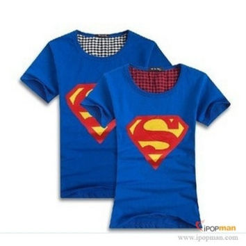 5 colors! New 2014 Superman T Shirt Lovers clothes O neck short sleeve t-shirts for couples Cotton tee shirts = 1946250948