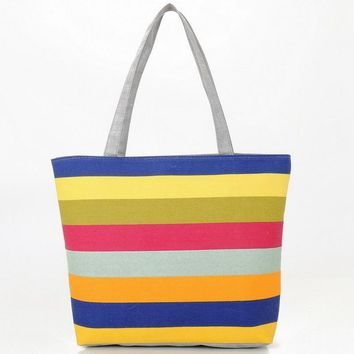 Summer Canvas Shopper Bag Striped Rainbow Prints Beach Bags Tote Women Ladies Girls Shoulder bag Casual Shopping Handbag Bolsa