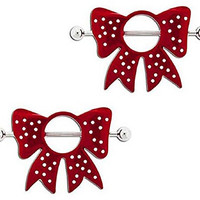 Nipple Ring Bars Red Bow Shield Body Jewelry Pair 14 gauge Body Piercing