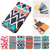 Tribal Pattern PU Leather Flip Case Cover Credit Card Wallet For iPhone 4 4G 4S