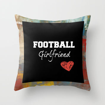 Football girlfriend Throw Pillow by TA DA 2