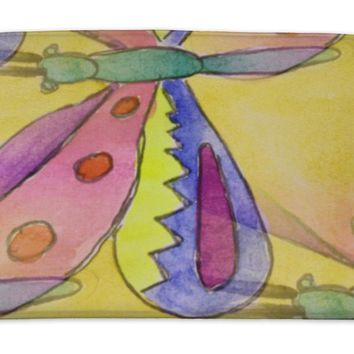 Bath Mat, Blots Butterfly Watercolor Painting