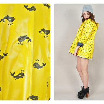 4th of July Sale 1970s yellow & navy cartoon WHALE PRINT novelty reversible hooded raincoat slicker nautical VINTAGE