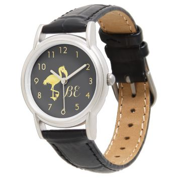 Monogram with faux gold numbers and flamingo black watch