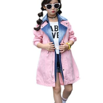 children clothing autumn winter kids clothes long section denim patchwork girls jeans trench jackets fake two piece girl outwear