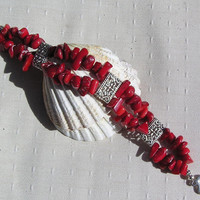 "Natural Red Coral Gemstone Bracelet - ""Symphony in Red"""