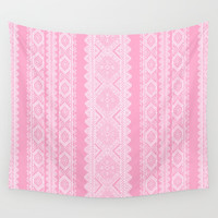 Ukrainian embroidery heavenly pink Wall Tapestry by exobiology