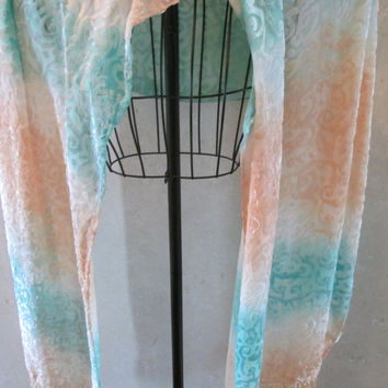 Shawl, scarf or wrap for weddings, dancers, dates, gifts with 4 inch fringe, 22 by 72 ins.,teal, peach and white sparkling silk and velvet