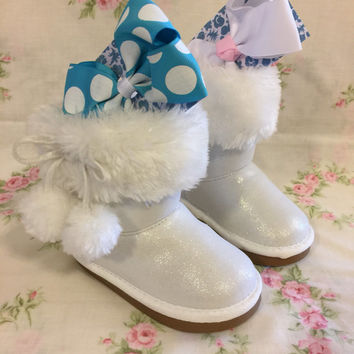 Children's Snow Boots And Bows- Girls- Polka Dot- Pom Poms- White Glitter- Kids- Baby- Size 6M- Valentines Gift- Gift Set- Birthday Gift