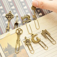 60 pcs/Lot Metal Bookmark Vintage Book marker clip stationery Office accessories School supplies marcapaginas marque page 6439