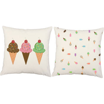 Ice Cream Print Throw Pillows - Popsicle Pillow Covers and or Cushion Inserts - Girls Room Decor, Dessert Print, Food Print Pillow, Sweets