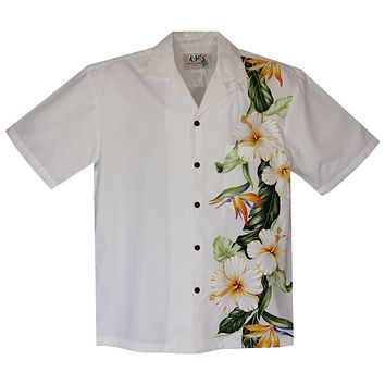 Hibiscus Bird White Vertical Border Hawaiian Shirt