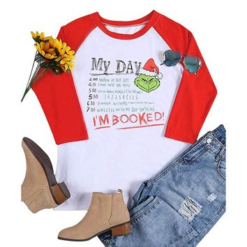 Grinch Christmas Shirt for Women My Day I Am Booked Raglan 3/4 Sleeve Funny Baseball Tshirt Casual Cute Female T Shirt Tops