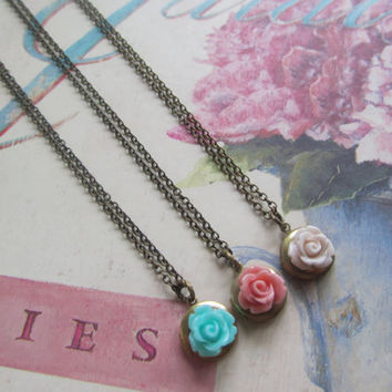 Best Friend  Necklaces,Round Locket with Aqua, Dusky Pink and Cream Rose Set of  Three (3) necklaces, Bridesmaids Gifts