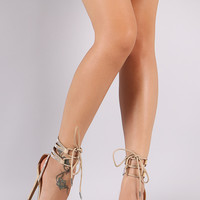Rhinestone Pointy Toe Nude Ankle Cuff Lace Up Stiletto Pump Heel