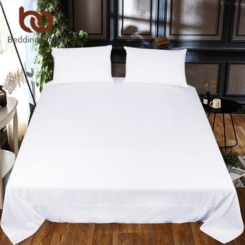 BeddingOutlet Solid Color Bed Sheet One Piece White Black Red Flat Sheet Microfiber Soft Bedding Bedspreads Twin Full Queen King
