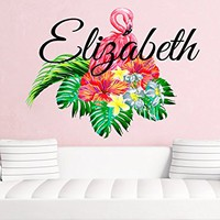Flamingo Personalized Name Wall Decal Animal Full Color Mural for Nursery Girls Custom Colorful Vinyl Sticker SD7