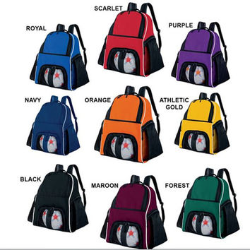 Athletic Sports Backpack Asst Colors Free Personalization Ball Gym Bag Overnight School Soccer