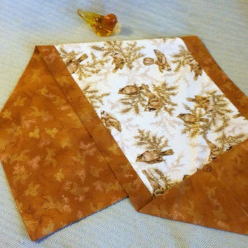 Tan and Gold Bird Table Runner Hand Made Woodland Theme Table Decor Bird Lovers Kitchen Dining Medium Rectangular Table Doily Hostess Gift