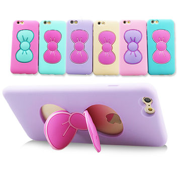 i6/i6 Plus Cases Fashion 3D Butterfly Bow Silicon TPU Case For iPhone 6 4.7 For iPhone 6 Plus 5.5 inch Stand Holder Back Cover