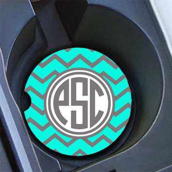 Monogram gifts for mom, Chevron car coaster, Robins egg blue gray chevron, Chevron car cup holder coaster Vanity car decor turquoise  (1016)