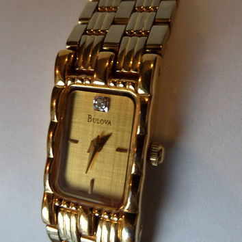 Bulova Ladies Watch,  Vintage Gold Stainless Steel Quartz Dress Watch with Diamond at 12:00