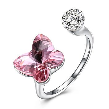 Pink Sapphire Butterfly Shaped Adjustable Ring 925 Sterling Silver Unique Casual Rings