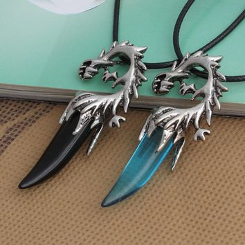 HOMOD Punk 316L Titanium Steel Dragon Necklace Wolf's Fang Pendant Necklace Leather Chain Man's Jewelry Accessories Brother Gift