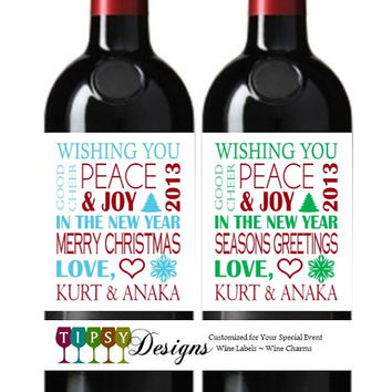Christmas Wine Bottle Labels Happy Holidays Seasons Greetings Merry Christmas Customized Personalized Set of 4