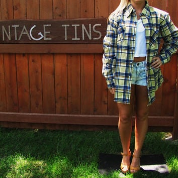 vintage dead stock Montgomery Ward cotton flannel oversized lumberjack big shirt
