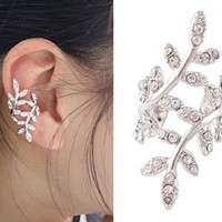 Ivy Leaves Vine Rhinestone Earring Ear Cuff Clip on Cartilage Silver tone Punk Goth Rock Metal