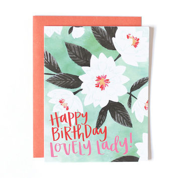 ONE CANOE TWO LOVELY FLORAL BIRTHDAY CARD
