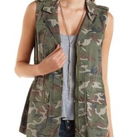 Camo Print Utility Vest by Charlotte Russe - Olive Combo