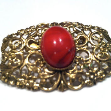 GERMAN Silver Red Cabochon Golden Filigree Brooch Pin Art Nouveau Vintage