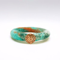 Copper Om and Felted Wool Bracelet. Winter Yoga Jewelry. Turquoise green, teal green, and orange bangle.