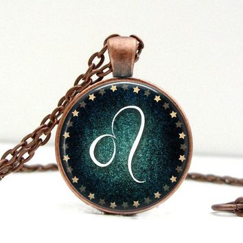 Leo Sign Necklace: Zodiac Jewelry. August Birthday. Custom Birthday. Picture Pendant