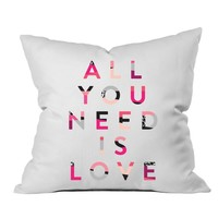 """All You Need Is Love 18x18"""" Throw Pillow Cover - Couples Gifts For Her - Wedding Decoration - Anniversary Gift Birthday Present Missing You Gifts"""